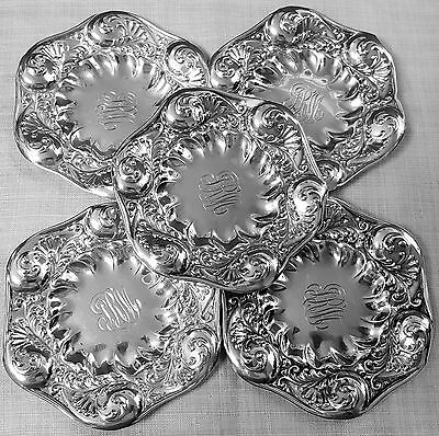 5 Gorham repousse butter pats foliate design 1892 in sterling silver