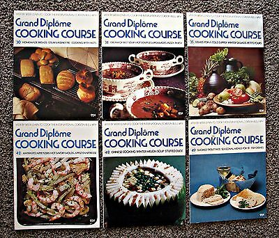 6 VINTAGE Grand Diplome 1971 Cooking Course Paperback Books Various Issues