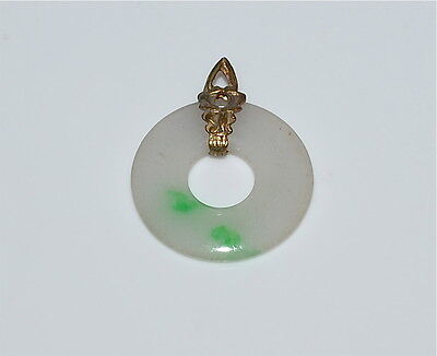 Antique Chinese 'Moss in Snow' Jadeite Carved Disc Pendant