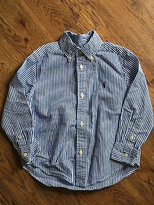 Polo Ralph Lauren Boys Size 3t Long Sleeve Blue And White Check