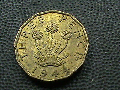 GREAT  BRITAIN    3  Pence    1944    ALMOST  UNCIRCULATED