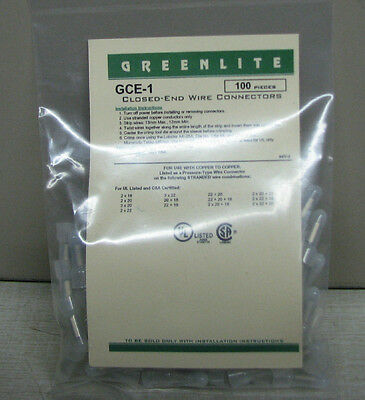 Closed-End Wire Connectors By Greenlite Gce-1    22-18 Ga   100 Pcs.