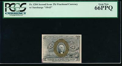 "AC Fr 1284 $0.25 1863 fractional second issue PCGS 66 PPQ with ""18-63"" pop 3/0"