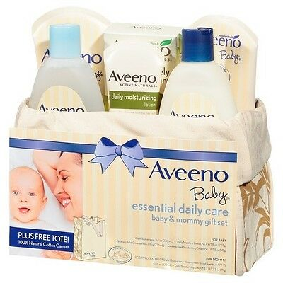 Aveeno Baby Gift Set Daily Care Essentials Basket, Baby and Mommy Gift Set New