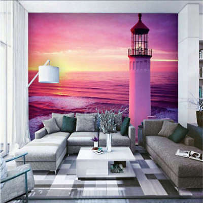 Sunset Lighthouse Beach Full Wall Mural Photo Wallpaper Print 3D Decor Kids Home