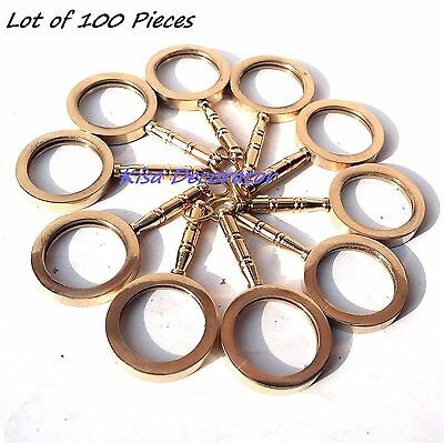 LOT of 100 Necklace Style Shiny Brass Magnifying Glass Magnifier Nautical Gift