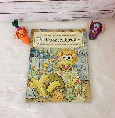 Vintage 1984 Fraggle Rock Lot Set Book Doozer Disaster Two Toy Cars Gobo Mokey