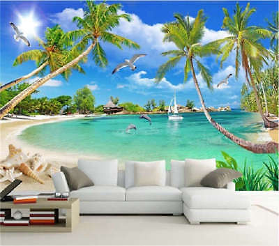 Coconut Tree Beach Full Wall Mural Photo Wallpaper Printing 3D Decor KidsHome