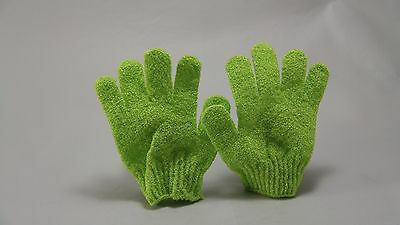 New - Ladies Exfoliating Gloves Pair - Green