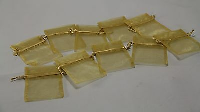 New - Gold Mesh Organza Bags - Pack Of 10 - 10 X 7.5Cm