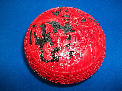 Chinese Vintage Handmade Red Lacquer Jewelry Box