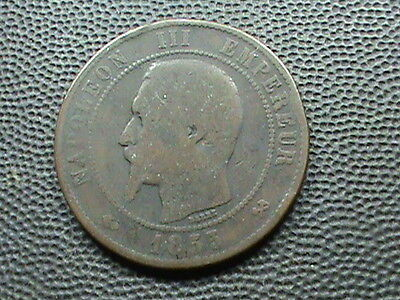 FRANCE    10  Centimes    1855  -  B    ROUEN  $ 2.99 maximum shipping in USA