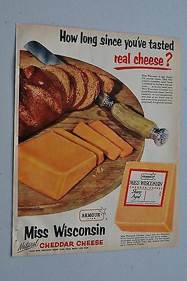 Miss Wisconsin Cheddar Cheese 1954 November Better Homes and Garden Magazine Ad