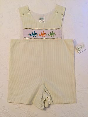 NWT $85 ZUCCINI smocked  gecko overalls with green and white striped - Size 4T