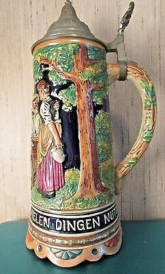 "Rare & Vintage Musical Beer Stein 10"" Tall W/pewter Lid Made In Switzerland"