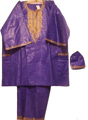 African Clothing Men's Traditional Pant Suit Brocade Outfit Dashiki Purple Gold