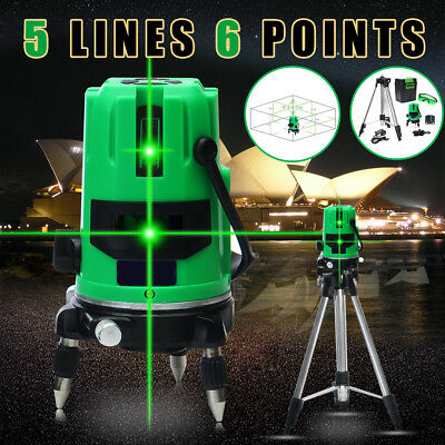 Green 5 Line 6 Points 360° Rotary Cross Outdoor Self Laser Level Measure Tripod