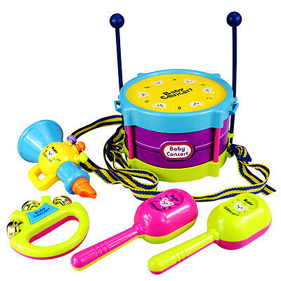 5X Baby Infant Toddler Developmental Toys Kids Drum Rattles Educational Toy NEW