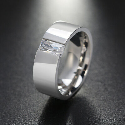 Silver-Tone Double Square Geometric Ring Stainless Steel Band Cocktail Ring Gift