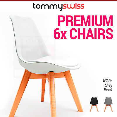 6 x Premium Padded Replica Eames PU Leather Dining Chair Office Cafe Lounge Seat