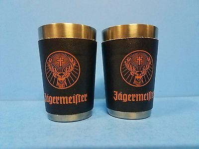 Set of 2 Jagermeister Shot Glasses Metal and Faux Leather