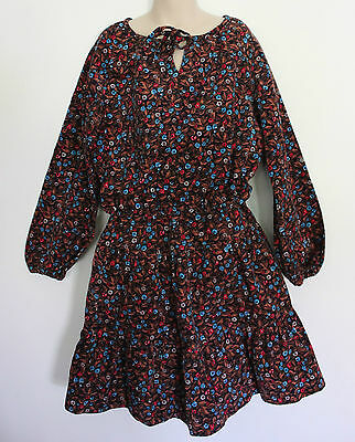 VINTAGE 1970's' Brown Black Red Floral Corduroy Peasant Blouse & Skirt Set ~ 8 9