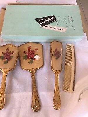Vtg Dressing Table Set In Box - 4 Piece 'debutante' British Made In Vg Con