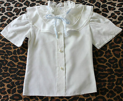 VINTAGE ~ 60's 70's Girls White Frilled Lace Trim Short Sleeve Blouse ~ 3