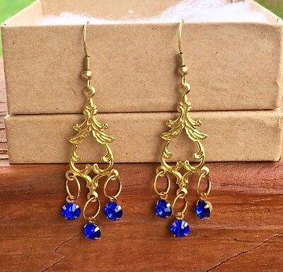 blue sapphire and brass gold colored chandelier dangle earrings, gi