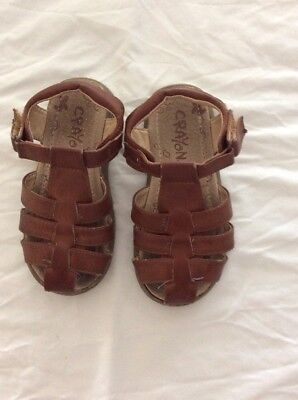 Crayons Boys Kids Leather Sandals Shoes Size 9 Brown