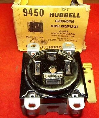 Hubbell # 9450 Black Flush Receptacle 4 Wire 50 AMP 125/250VAC NEW W/BOX