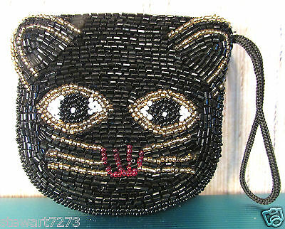 Beautiful Small Black Beaded Cat Coin Purse Zippered W/strap & Silk Lined