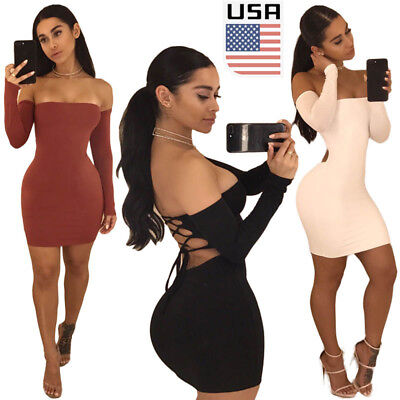USA Women's Bandage Bodycon Long Sleeve Club Party Cocktail Mini Dress Backless