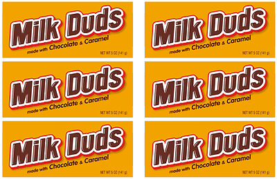 903183 x 6 MILK DUDS MADE WITH CHOCOLATE AND CARAMEL THEATRE BOX SIZE CHOCOLATE!