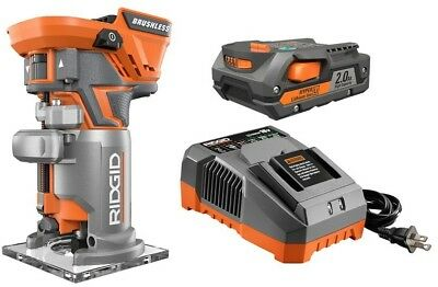 RIDGID Cordless Router Kit Variable Speed Brushless Motor 18-Volt LED Light