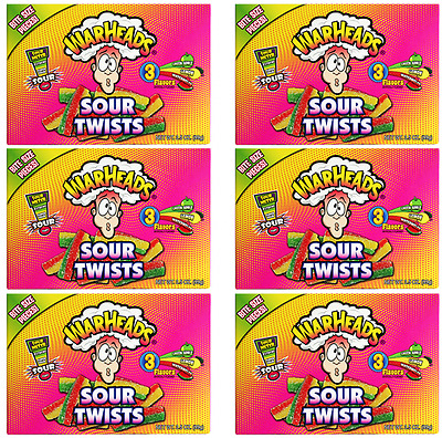 910428 6 x 99g BOXES OF WARHEADS SOUR TWISTS BITE SIZE PIECES! 3 FRUITY FLAVORS