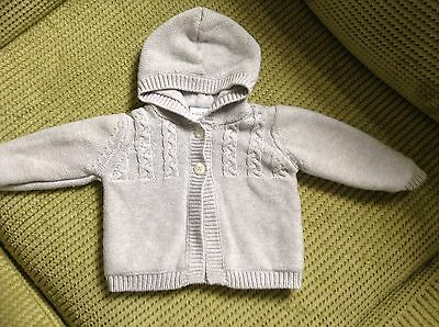 Baby Boys Grey Cardigan Jacket Hooded Knitted Age 3-6 Months. Twins