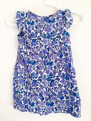 United Colors of Benetton Baby Girl's Dress Fits Size 3-6 Months Blue Floral