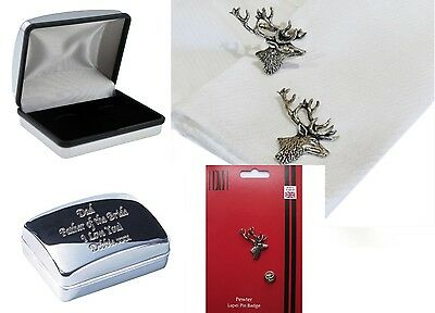 Personalised Engraved STAG in Pewter Cufflinks and/or Lapel Pin Badge