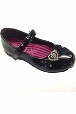 Girls Diamante Heart Thin Strap Back To School Patent Smart Kids Flat Shoes