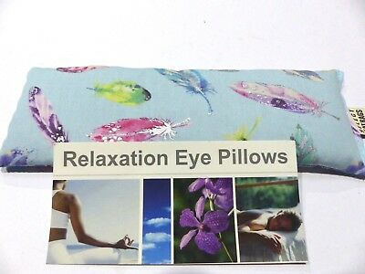 Cotton Eye Pillow Linseed Yoga PASTEL FEATHERS BLUE 24 x 8 cm Lavender Unscented