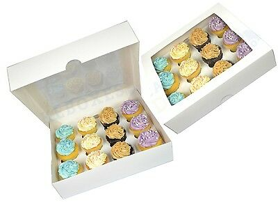White 12 Cavity Window Cupcake Box With Insert