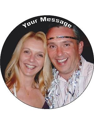 "YOUR OWN PERSONALISED PHOTO MESSAGE 7.5"" Round  Wafer Paper Cake Topper"