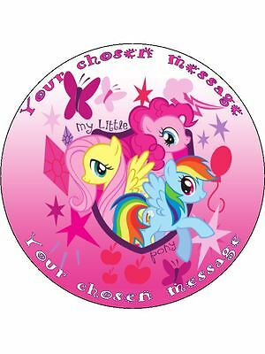 """My Little Pony 7.5"""" Round Personalised Message Birthday Cake Topper"""