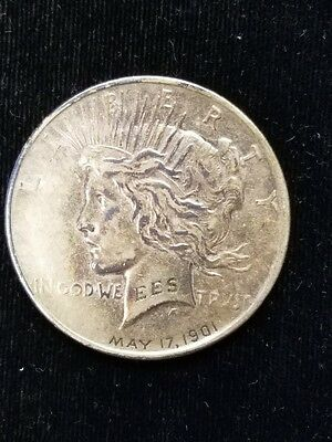 1922 Engraved Silver Peace Dollar Engraved EES May 17, 1901 Birth Love Token?
