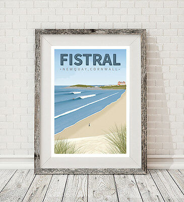 A3 Surfing Fistral Beach Newquay Cornwall retro art travel poster print vintage