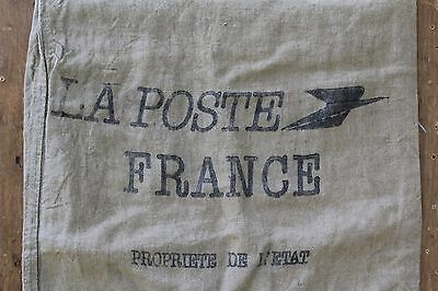 A Vintage French Canvas La Poste Sack Industrial Upholstery Fabric Project Ref B