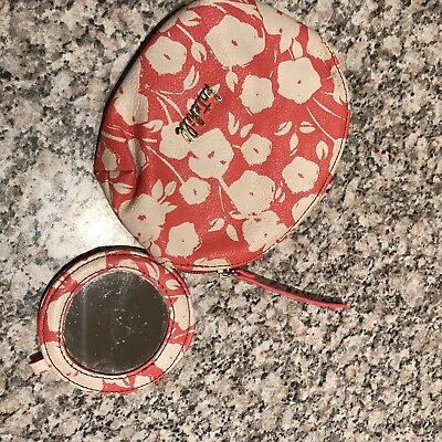 Kate Hill Mirror And Pouch Purse Set Pink Floral