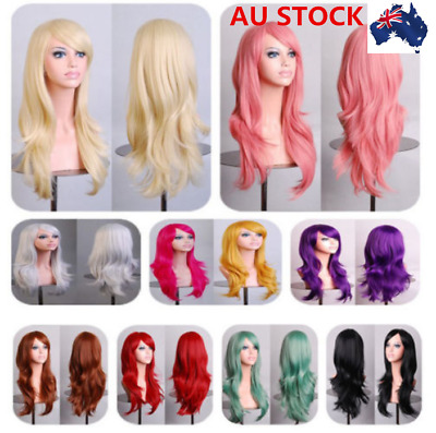 AU Women Long Curly Wavy Wigs Cosplay Heat Resistant Synthetic Wigs Side Bangs