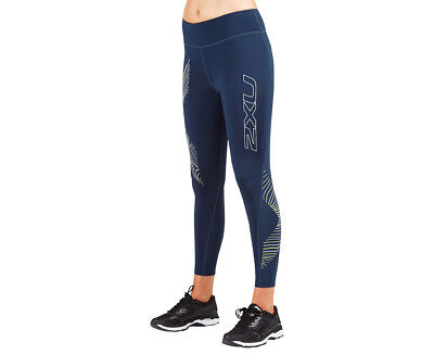 Women's 2XU Hypnotik 7/8 Mid Rise Compression Tights - Blue/Luminescent